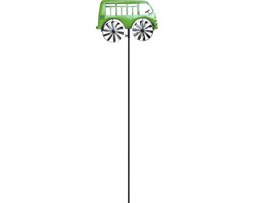 Windrad Bus Metall H 133 cm grün