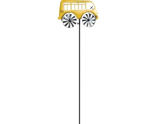 Windrad Bus Metall H 133 cm gelb