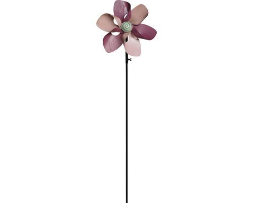 Windrad Blume Metall H 130 cm rosa
