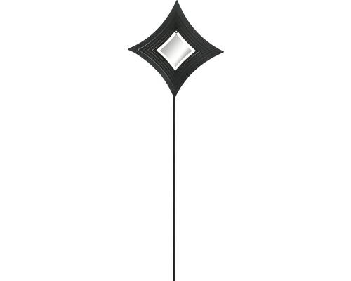 Gartenstecker Diamant Metall H 115 cm schwarz-weiß