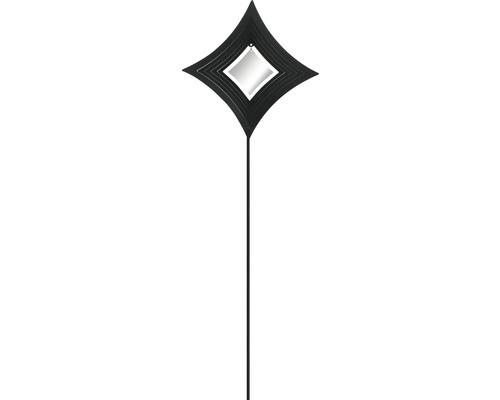 Gartenstecker Diamant Metall H 80 cm schwarz-weiß