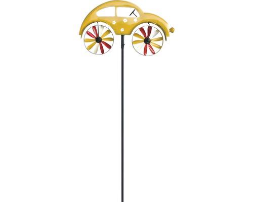 Windrad Auto Metall H 130 cm gelb