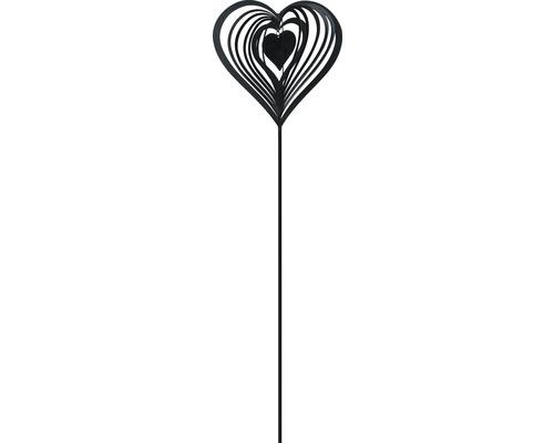 Gartenstecker Herz Metall H 80 cm schwarz