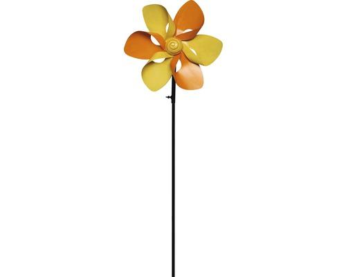 Windrad Blume Metall H 130 cm gelb