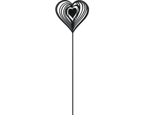 Gartenstecker Herz Metall H 115 cm schwarz