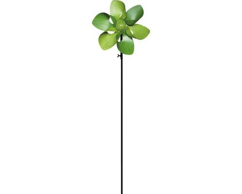 Windrad Blume Metall H 130 cm grün