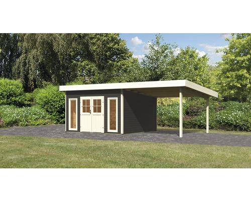 Gartenhaus Karibu Seevetal 2 Classic mit Schleppdach 3,3 m 665 x 357 cm terragrau