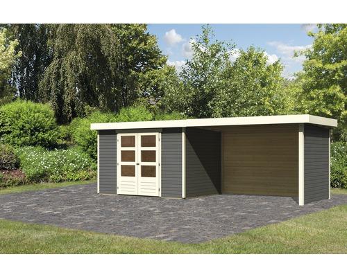Gartenhaus Karibu Kodiak 4 mit Schleppdach 2,8 m, Rück- und Seitenwand 561 x 217 cm terragrau