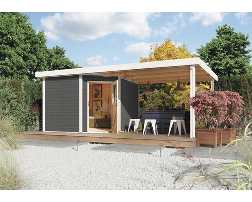 Gartenhaus Karibu Neuruppin 3 mit Schleppdach 2,6 m 506 x 274 cm terragrau
