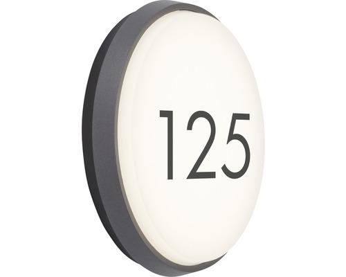 AEG LED Außenwandleuchte IP54 23W 2300 lm 3000 K warmweiß Letan anthrazit/weiß Ø 240 mm mit Hausnummernbogen