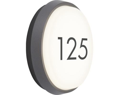 AEG LED Außenwandleuchte IP54 9W 900 lm 3000 K warmweiß Letan anthrazit/weiß Ø 175 mm mit Hausnummernbogen