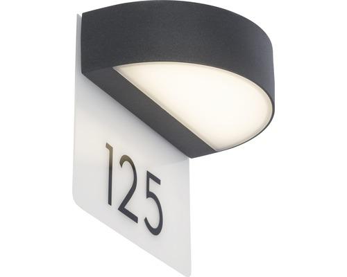 AEG LED Außenwandleuchte IP54 9W 550 lm 3000 K warmweiß Monido anthrazit/weiß 180x205 mm mit Hausnummernbogen