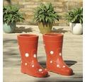 Gartendeko Stiefel rechts Lafiora Keramik H 23 cm rot-weiß