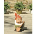 Gartenzwerg mit Schaufel Lafiora Keramik H 31 cm grün-rot-weiß