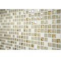 Glasmosaik mit Naturstein XCM M910 30,5x32,2 cm beige/weiß/gold