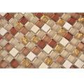Glasmosaik mit Naturstein XCM M920 30,5x32,2 cm beige/gold/ocker