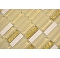 Glasmosaik mit Naturstein XCM SM91 31x32,2 cm beige/gold/weiß