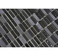 Glasmosaik mit Naturstein grau schwarz 1x3cm 31,3x31,8 cm
