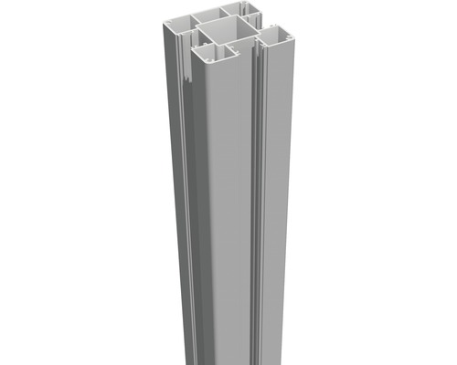 Aluminiumpfosten GroJa Flex & Lumino zum Einbetonieren 7x7x240 cm silbergrau