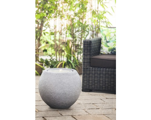 Brunnen-Set 'Ball Grey LED' 50 x 50 x 43 cm aus Polystone grau