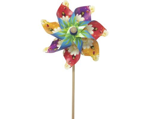 Windrad Kunststoff-Holz H 76 Ø 32 cm zufällige Farb- und Musterauswahl