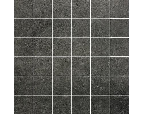 Feinsteinzeugmosaik Hometec black Lappato 29,8x29,8 cm Inhalt 3 Stück