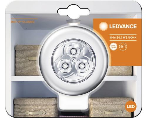 LED Klebeleuchte Nachtlicht Ø 65 mm Ledvance Classic Dot-it silber