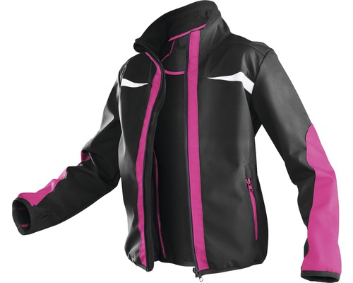 Kübler Kidz Kinder-Softshell Jacke, schwarz/pink, Gr. 146-152