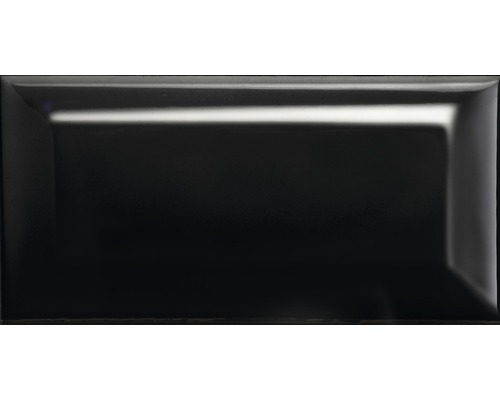 Steingut Facettenfliese Metro schwarz glänzend 7,5 x 15 cm