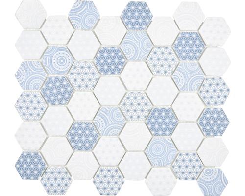 Glasmosaik Emily HX45 Hexagon 32,40x28 cm hellblau