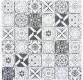 Glasmosaik XCM 8RBW47 30x30 cm Weiß/Schwarz