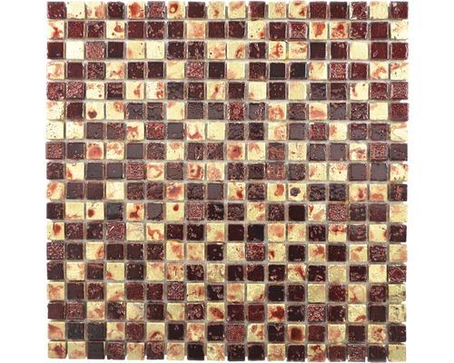 Natursteinmosaik XAM 67 30x30 cm Gold/Rot