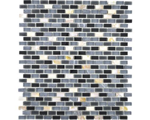 Glasmosaik Crystal mit Naturstein XCM B13S 31x28,5 cm Schwarz