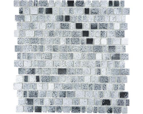 Glasmosaik XCM GME 26 31,7x31,1 cm Grau/Schwarz
