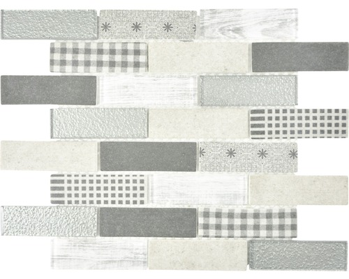 Glasmosaik XCM BR89 Brick 29,7x25,8 cm Grau
