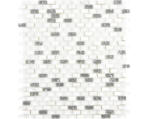 Glasmosaik Crystal mit Naturstein XCM B11S 31x28,5 cm Weiß