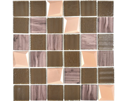 Glasmosaik XCM Beach 29,8x29,8 cm Braun