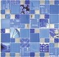 Glasmosaik XCM MC549 29,8x29,8 cm Silber/Blau