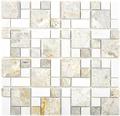 Natursteinmosaik XNM MC719 30,5x30,5 cm Grau/Weiß
