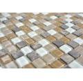 Glasmosaik Crystal mit Naturstein CM M435 30x30 cm Beige/Braun