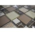 Glasmosaik XCM MC539 29,8x29,8 cm Silber/Beige/Braun