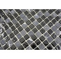 Glasmosaik Crystal mit Naturstein CM M465 30x30 cm Grau/Schwarz