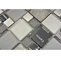 Glasmosaik XCM MC529 29,8x29,8 cm Silber/Grau/Schwarz
