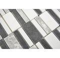 Natursteinmosaik XNM BC449 30x30 cm Schwarz/Weiß/Grau