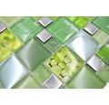 Glasmosaik XCM MC559 29,8x29,8 cm Silber/Grün