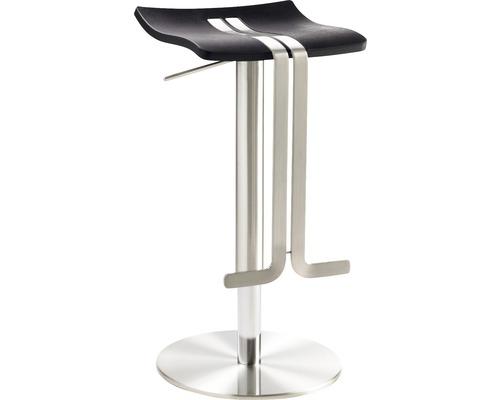 Barhocker Mayer Sitzmöbel myWave 1208-04-677 34x39x58-86 cm Gestell edelstahloptik Sitz Kunststoff schwarz