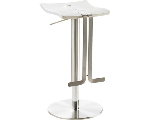 Barhocker Mayer Sitzmöbel myWave 1208-04-688 34x39x58-86 cm Gestell edelstahloptik Sitz Kunststoff weiß