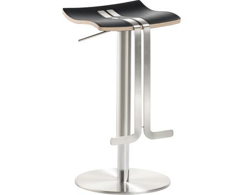 Barhocker Mayer Sitzmöbel myWave 1208-04-87 34x39x58-86 cm Gestell edelstahloptik Sitz Leder schwarz