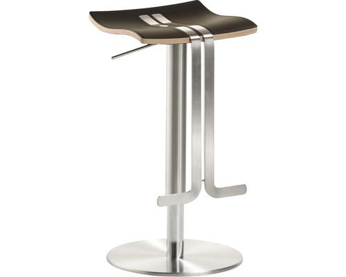 Barhocker Mayer Sitzmöbel myWave 1208-04-85 34x39x58-86 cm Gestell edelstahloptik Sitz Leder mocca