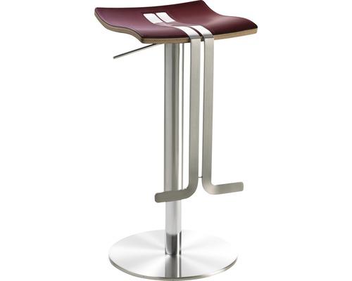 Barhocker Mayer Sitzmöbel myWave 1208-04-84 34x39x58-86 cm Gestell edelstahloptik Sitz Leder rot